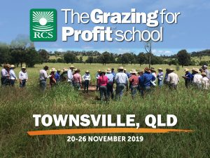 Townsville Grazing for Profit School. People standing around a cell centre.