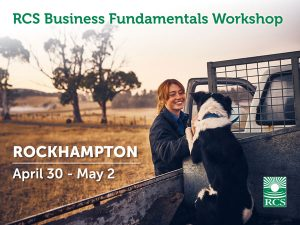 Business Fundamentals Workshop Rockhampton. Lady smiling and patting working dog in back of ute.