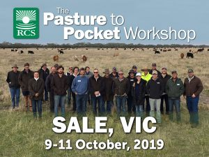RCS Pasture to Pocket Workshop, Sale VIC. Producers standing in a field.